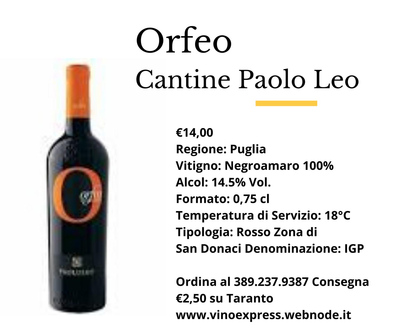 Orfeo Negroamaro Cantine Paolo Leo
