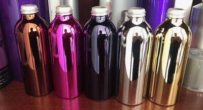 Aluminum Mirror Shiney Bottles,  Six Colors, and Sizes $0.82 - $1.50