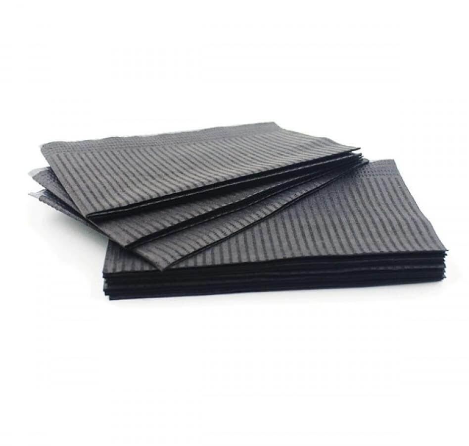 Салфетки ламинированные 33*45 JNB ( бумага + полиэтилен) чёрные 125 шт.
