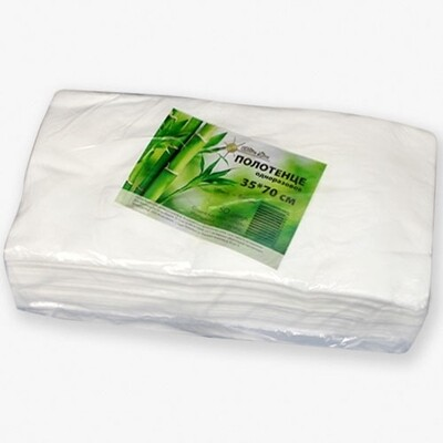 Полотенце малое White line 35*70 пачка белый спанлейс (бамбук) (№50шт)