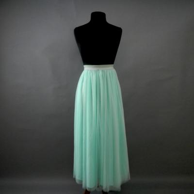Mint Long Tulle Skirt