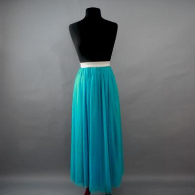 Aquamarine Long Tulle Skirt