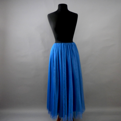 Teal Long Tulle Skirt