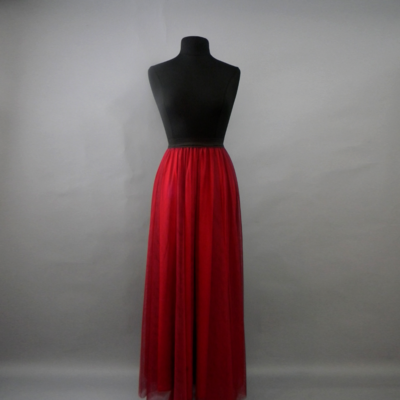 Red Long Tulle Skirt