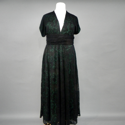 Calista Black & Green Lace Plus Infinity Maxi