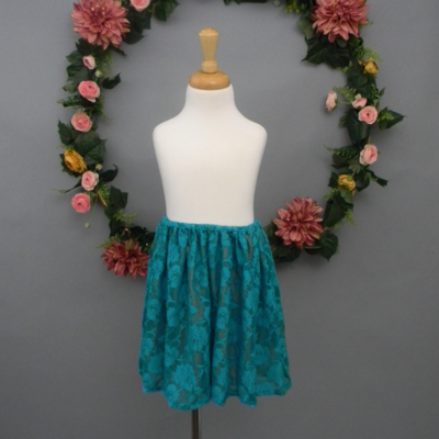 Teal Lace Girl's Skirt