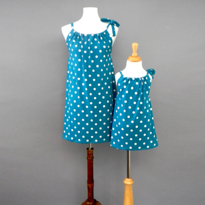Evie Teal Polka Dotted Pillow Dress