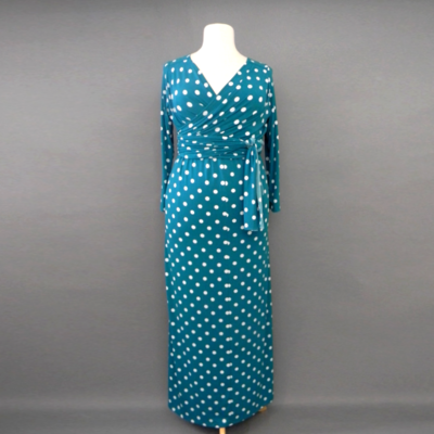 Jacqueline Teal Polka Dotted Long Sleeve Infinity Maxi