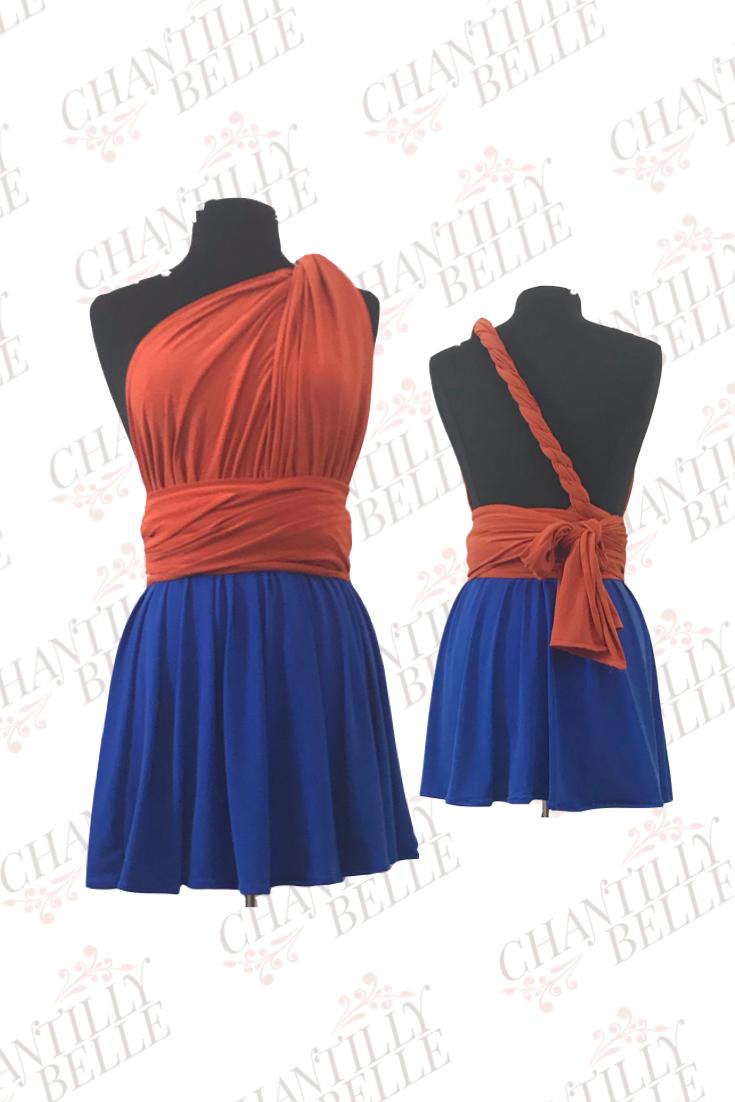 Orange and Blue two-toned Infinity Mini Dress