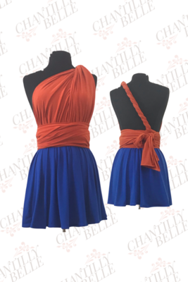 Orange and Blue two-toned Infinity Mini Dress