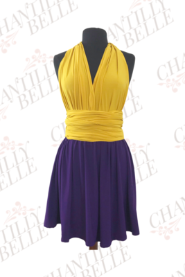 Yellow and Purple Two-Toned Infinity Mini Dress