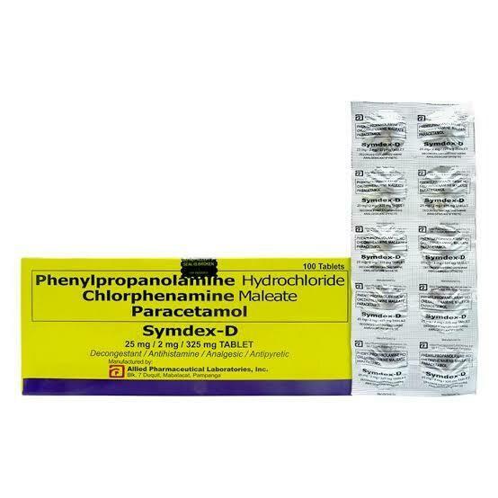 Paracetamol+Phenylpropanolamine+Chlorphenamine 325/25/2mg [SYMDEX D] Tablet x 1's