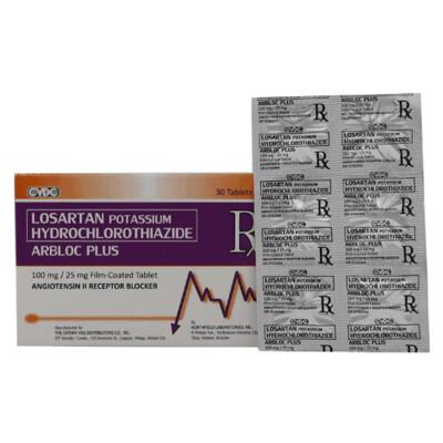 Arbloc Plus (Losartan + Hydrochlorothiazide) 100mg/25mg Tablet x 1's