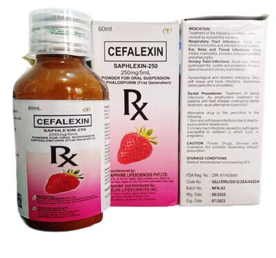 Cefalexin 250mg/5ml Suspension 60ml bottle x 1's