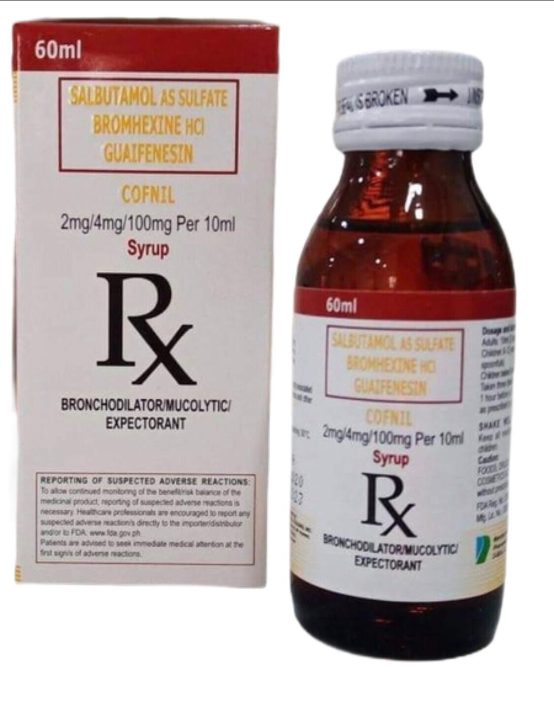 Salbutamol + Bromhexine HCl+ Guiafenesin 2mg/4mg/100mg per 10ml Syrup