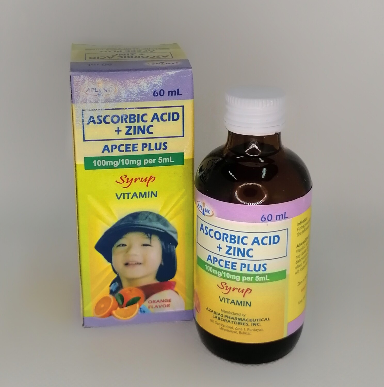 Ascorbic Acid (Vitamin C) + Zinc 100mg/10mg/5ml Syrup 60ml  bottle x1's