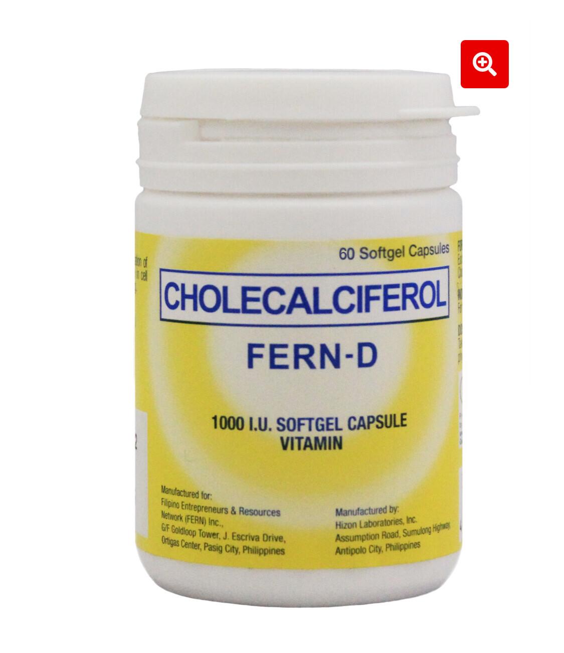 Cholecalciferol Vitamin D3 (Fern D) Bottle of 60 Softgel Capsule