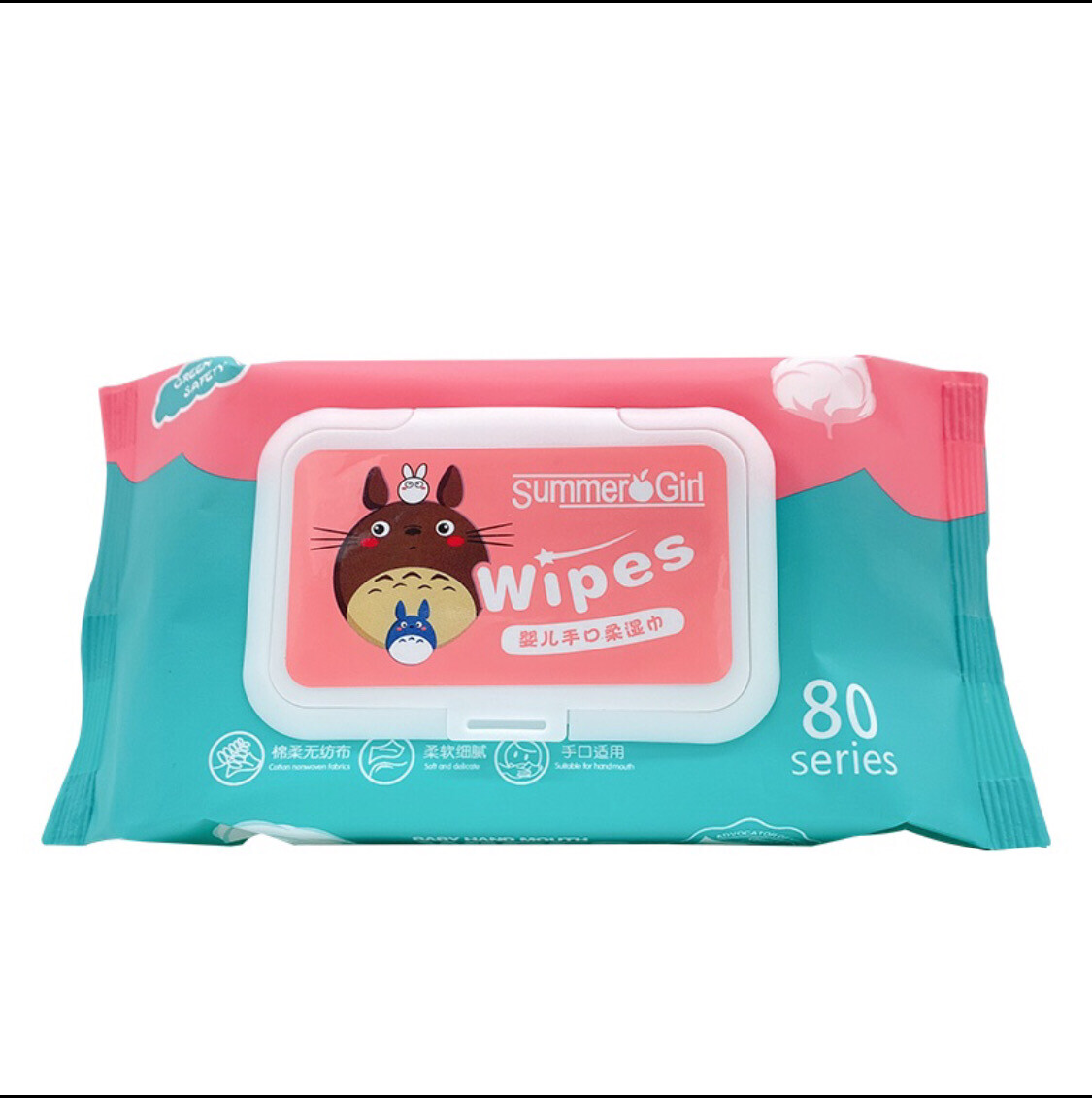 BABY WIPES (Non-Alcohol-wet wipes) Summer Girl Brand 80 Sheets Per Pack