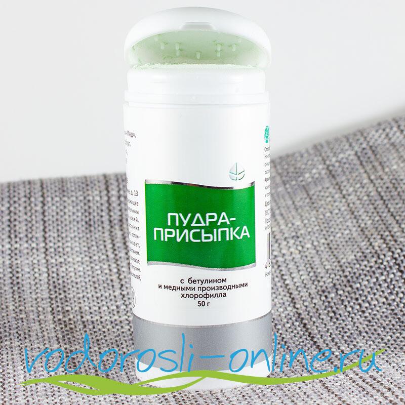 Пудра-присыпка с хлорофиллом из хвои и бетулином, 50 г.