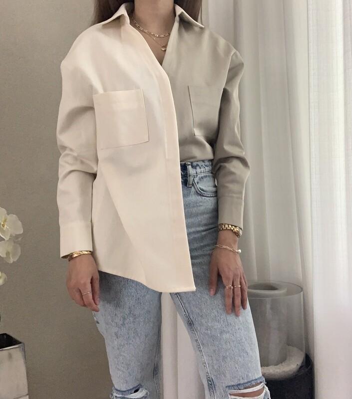 Two tone asymmetrical blouse