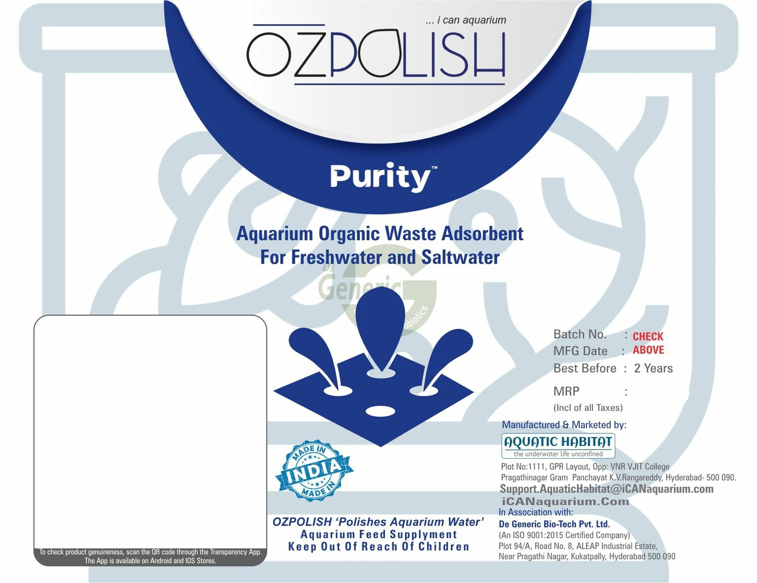 OZPOLISH Purity by Aquatic Habitat| Aquarium Water Cleaner |for Freshwater & Saltwater 2 * 50 gm Synthetic Adsorbent Media in Filter Bags