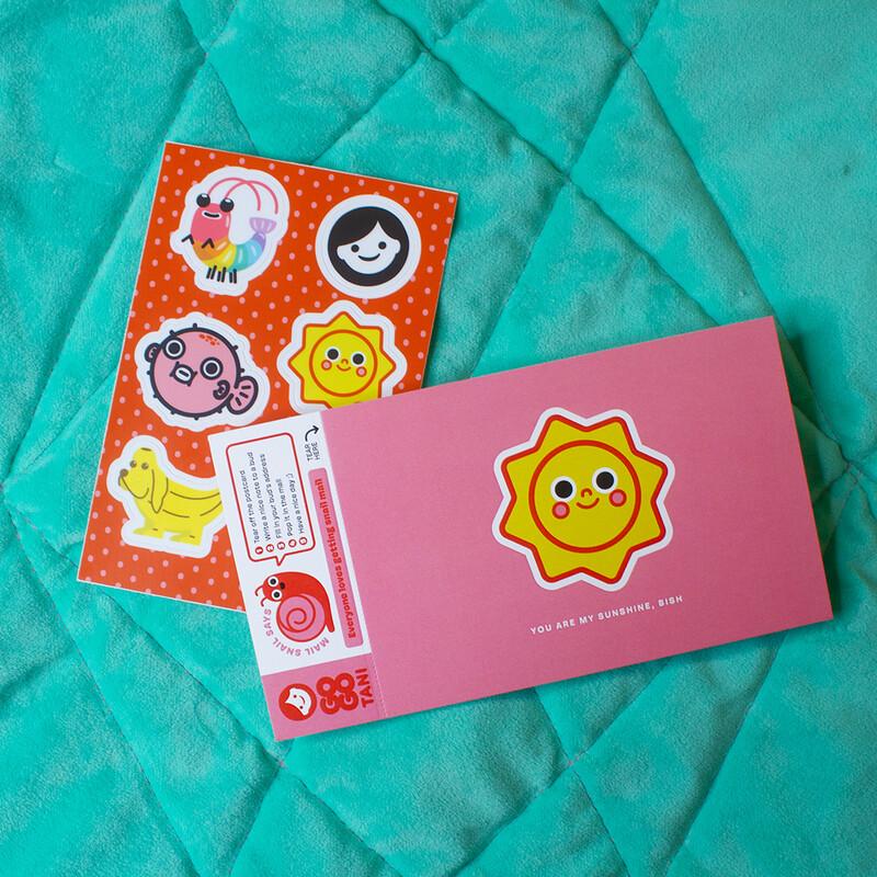 GoGo Tani Cute Stickies with Sunshine Postcard