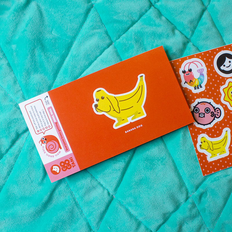 GoGo Tani Cute Stickies with Banana Dog Postcard