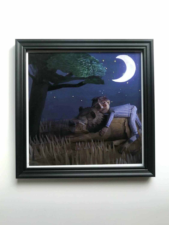 Boy and Lion Print (20x20cm)