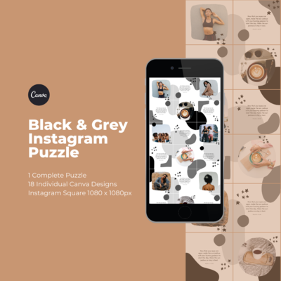 Black & Grey Instagram Puzzle Template