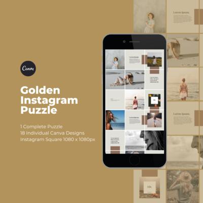 Golden Instagram Puzzle Template