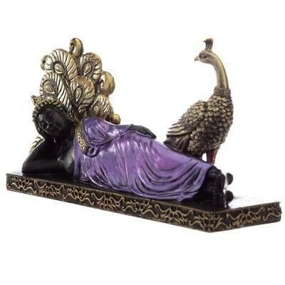 Statue bouddha noir et violet avec paon