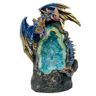 Brûleur d'encens à reflux dragon avec cave de cristal
