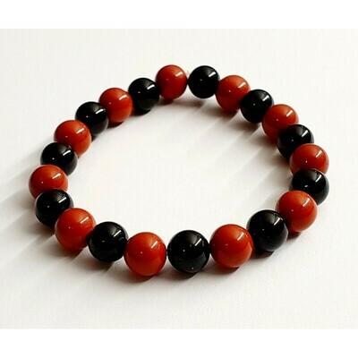 Bracelet jaspe rouge & tourmaline noire 8mm