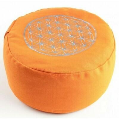 Coussin de méditation Fleur de vie orange