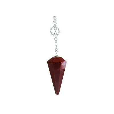 Pendule à facettes jaspe rouge