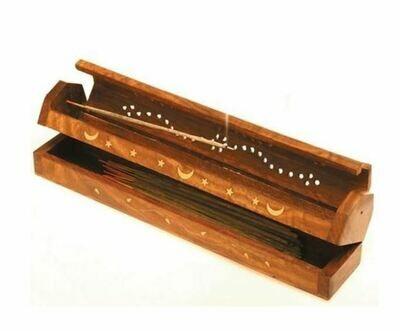 Brûle encens - Boîte en bois avec décorations
