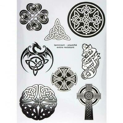 Autocollants symboles celtiques argent A5