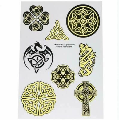 Autocollants symboles celtiques or A5