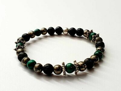 Bracelet Malachite et Pyrite 6 mm