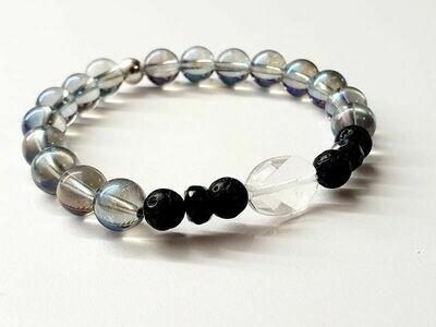 Bracelet Aqua aura, Dumortiérite et Cristal de roche