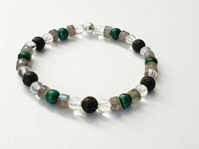Bracelet Malachite, Labradorite et Cristal de Roche 6mm