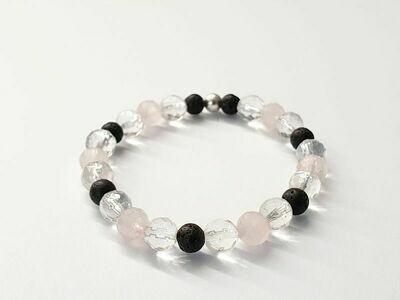 Bracelet Cristal de roche facetté et Quartz rose facettée 8 mm