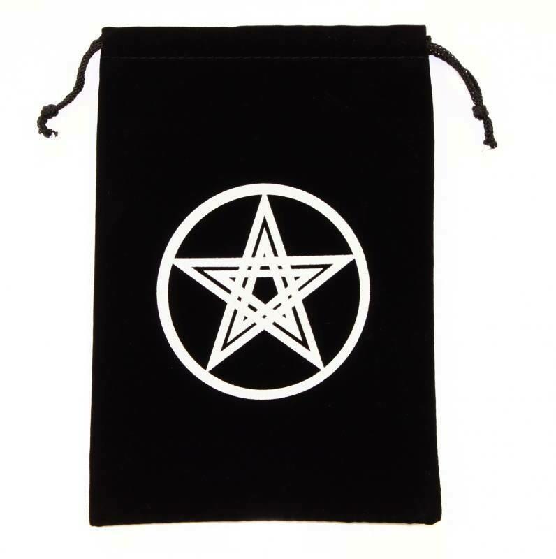 Bourse velours noir pentagramme