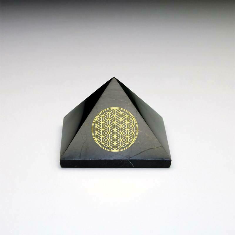 Pyramide shungite fleur de vie 5 cm