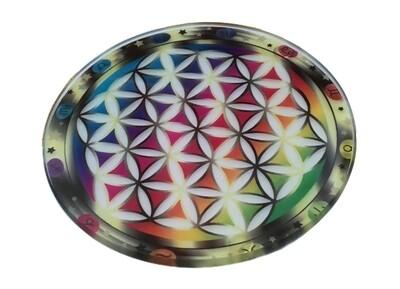 Support en verre fleur de vie 8,9 cm