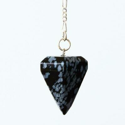 Pendule hexagonal Obsidienne flocon de neige
