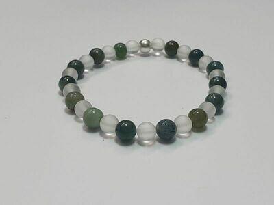 Bracelet Agate mousse et Cristal de roche mat 6 mm