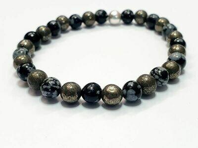 Bracelet Obsidienne flocon de neige et Pyrite 6 mm