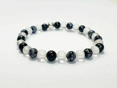 Bracelet Obsidienne flocon de neige et Cristal de roche Mat 6 mm
