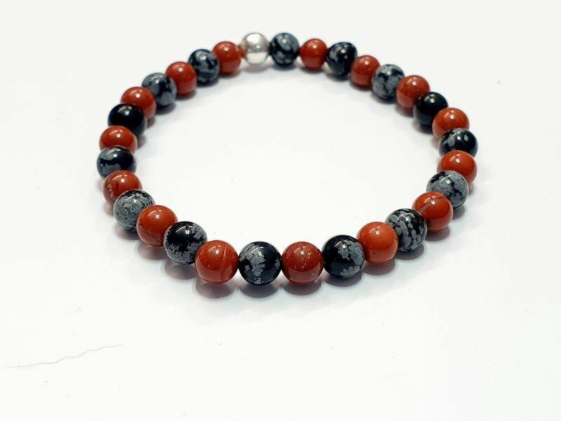 Bracelet Obsidienne Flocon de neige et Jaspe rouge 6 mm
